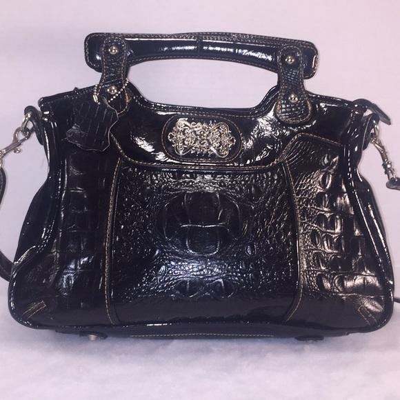 b76ed227d2c5 M.C. Handbags - M.C. Vintage Patent Leather Croc Satchel